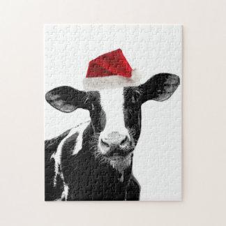 Santa Cow -Holstein Dairy Christmas Cow Jigsaw Puzzle