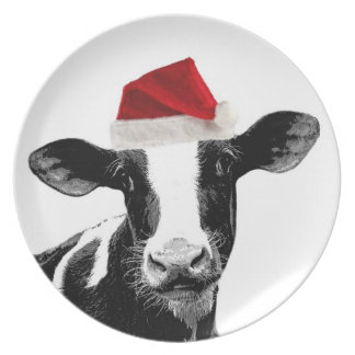 Santa Cow -Holstein Dairy Christmas Cow Party Plate