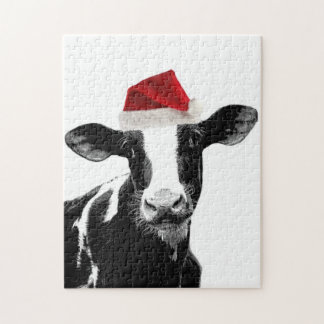 Santa Cow -Holstein Dairy Christmas Cow Puzzles