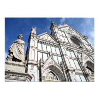 Santa Croce Basilica with the Dante Statue outside Custom Invites