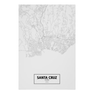 Santa Cruz, California (black on white) Poster