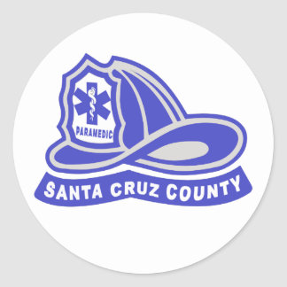 Santa Cruz County Paramedic Helmet Logo Round Sticker