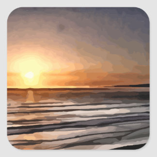 Santa Cruz Sunset painting Square Sticker