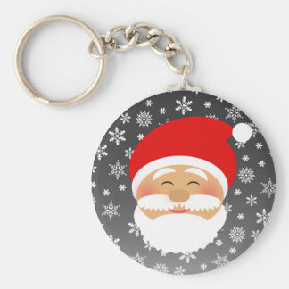 Santa Cute Cartoon Cheerful Bright Snowflakes Keychain