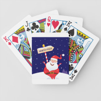 Santa cute red on white bicycle playing cards