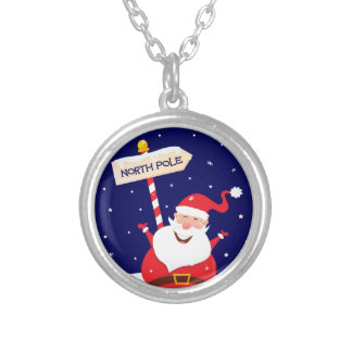 Santa cute red on white silver plated necklace