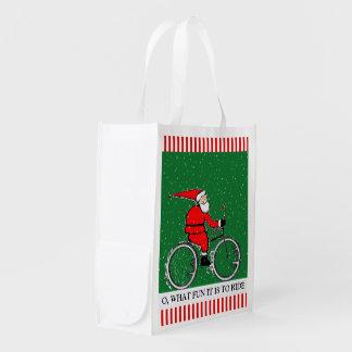 Santa Cyclist Reusable Grocery Bags