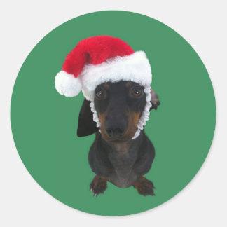 Santa Dachshund Round Stickers