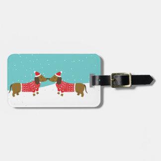 Santa Dachshund silhouette baggage tag