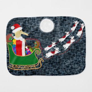 Santa Dachshund Baby Burp Cloths