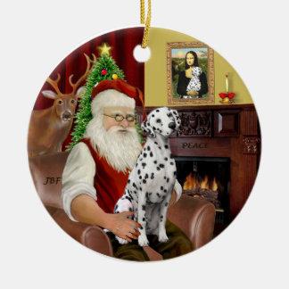 Santa-Dalmatian Ceramic Ornament