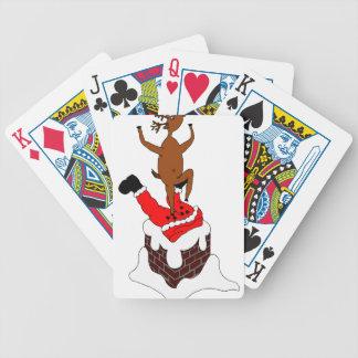 santa deer bicycle playing cards
