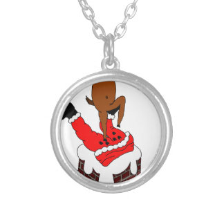 santa deer silver plated necklace
