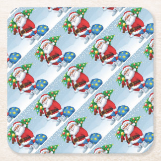 Santa Delivering Christmas Pattern Square Paper Coaster