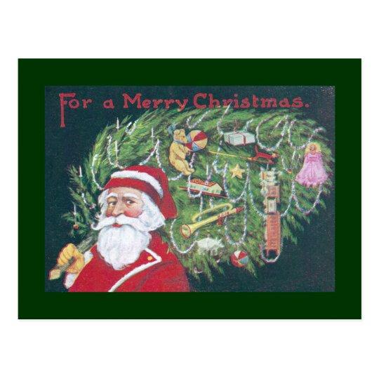 Santa Delivering Christmas Tree Postcard