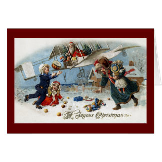 Santa Delivering Gifts Via Biplane Card
