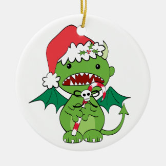Santa Devil with candy cane Round Ceramic Ornament