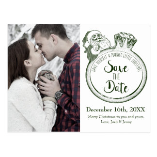 Santa Diamond Ring Save the Date Card
