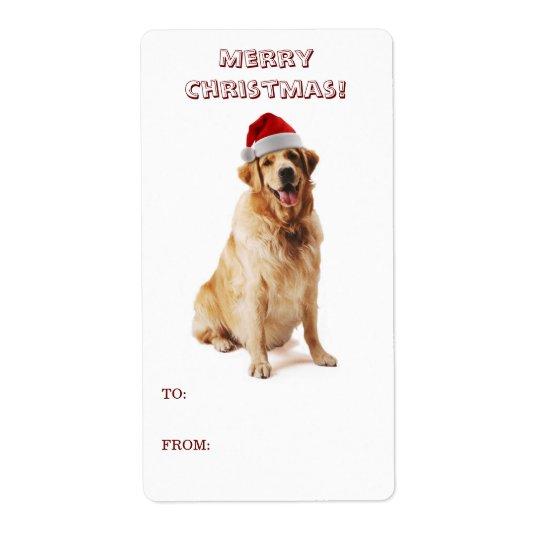 Santa Dog Gift Label