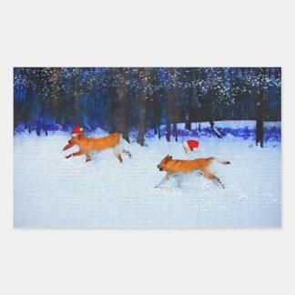 Santa Dogs Dashing Through the Snow Sticker