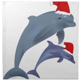 santa dolphins napkin