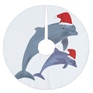 santa dolphins tree skirt