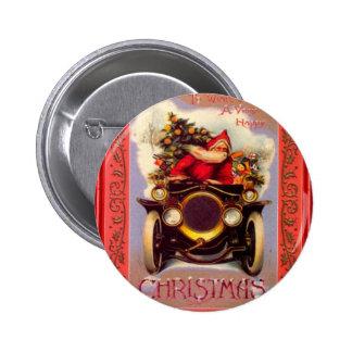 Santa driving a veteran car 2 inch round button