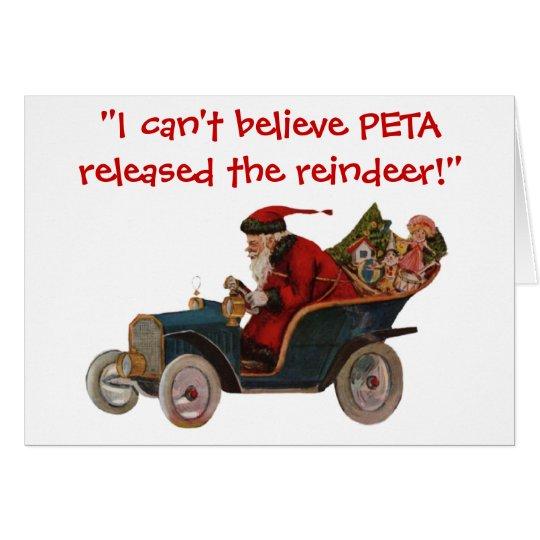 Santa Driving Car Thanks To PETA Christmas Card