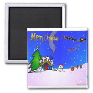 Santa_drops_gifts_by_snowman_and_snow_covered_hous Magnet