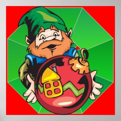 Santa Elf and Ornament Poster