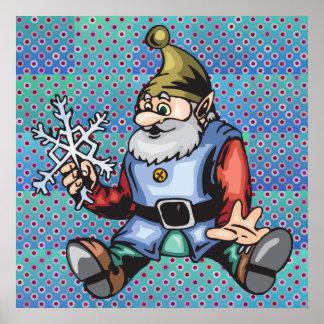 Santa Elf and Snowflake Print