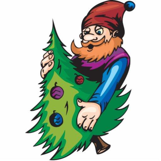 Santa Elf Holding Christmas Tree Cut Outs