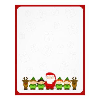 Santa, Elves and Reindeer Christmas Letter Paper