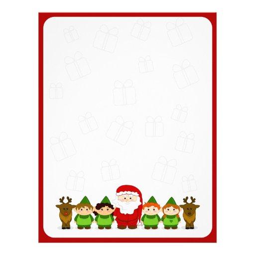 Santa, Elves and Reindeer Christmas Letter Paper Customized Letterhead ...