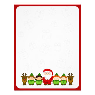 Santa, Elves and Reindeer Christmas Letter Paper Personalized Letterhead