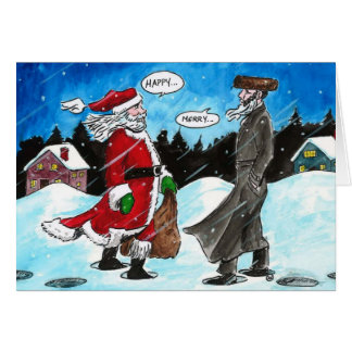 Santa encounters Hasidic Jew Greeting Cards