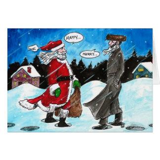 Santa encounters Hasidic Jew Greeting Card