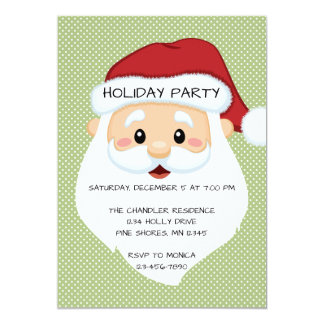 Santa Face Green Christmas Holiday Invitation