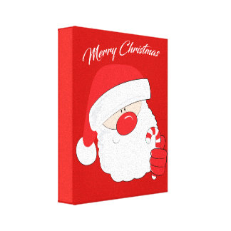 Santa Face - white text. Canvas Print