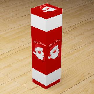 Santa Face - white text. Wine Gift Box