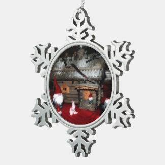Santa Family Pewter Snowflake Ornament