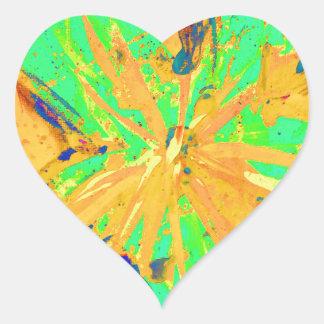 Santa Fe Acid wash yellow Heart Sticker