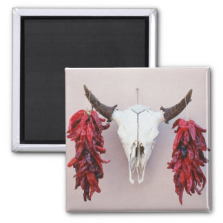 Santa Fe Cow Skull with Peppers Square Magnet