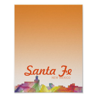 SANTA FE, NEW MEXICO SKYLINE WB1 POSTER