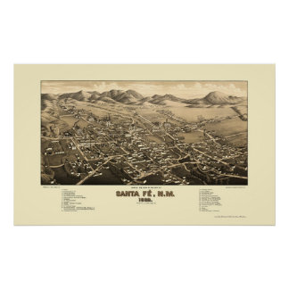 Santa Fe, NM Panoramic Map - 1882 Poster