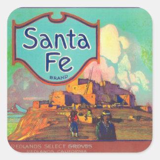 Santa Fe Orange LabelRedlands, CA Square Sticker