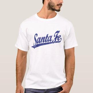 Santa Fe script logo in blue distressed T-Shirt