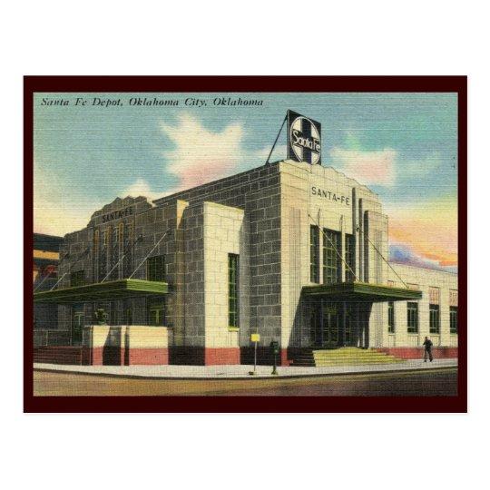 Santa Fe Train Depot, Oklahoma City Vintage Postcard