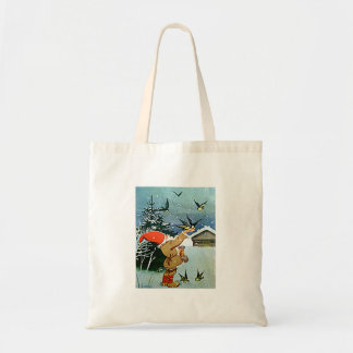 Santa feeding birds by hand Crafts & Shopping bag