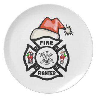 Santa Firefighter Dinner Plates